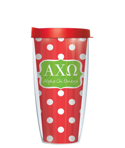 Alpha Chi Omega - Dots with Red Lid