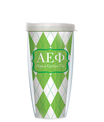 Alpha Epsilon Phi - Argyle with Clear Lid