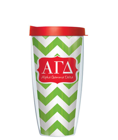 Alpha Gamma Delta - Chevron with Clear Lid