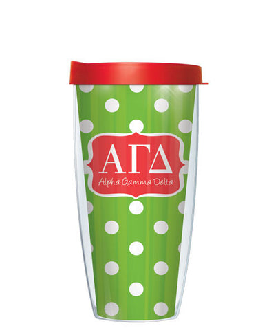 Alpha Gamma Delta - Dots with Clear Lid