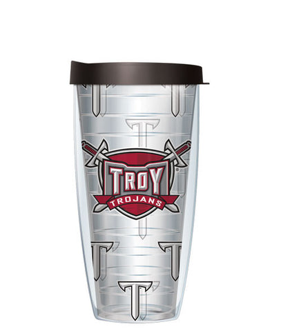 Troy University - Logo Pattern on Clear with Black Lid
