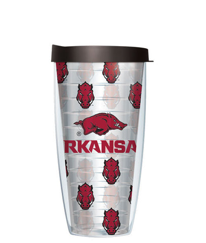 University of Arkansas University - Logo Pattern on Clear with Black Lid