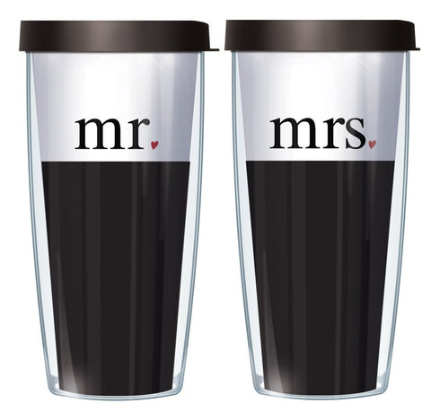 Mr. and Mrs. 16oz Tumbler Set with Black Lids