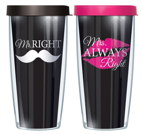 Mr. Right and Mrs. Always Right 16oz Tumbler Set with Black and Pink Lids