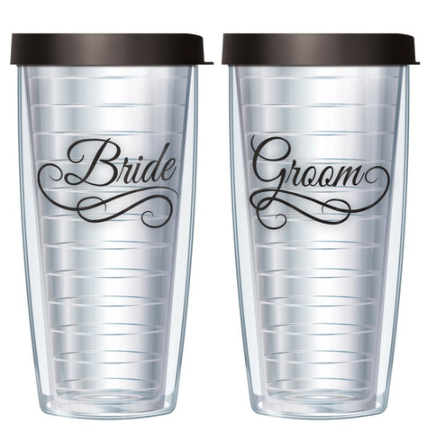 Bride & Groom 16oz Tumbler Set with Black Lids