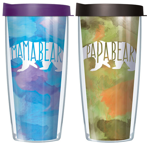 Mama Bear Papa Bear Tumbler Set with Lids