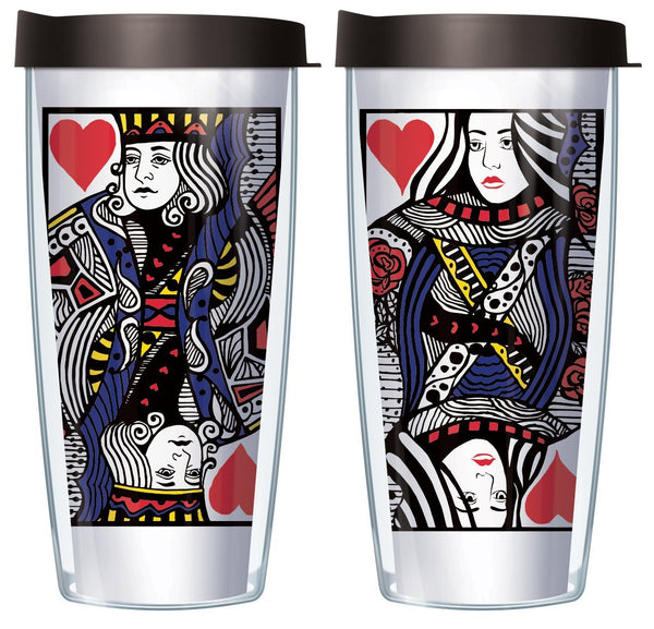 King and Queen Card Tumbler Set with Lids