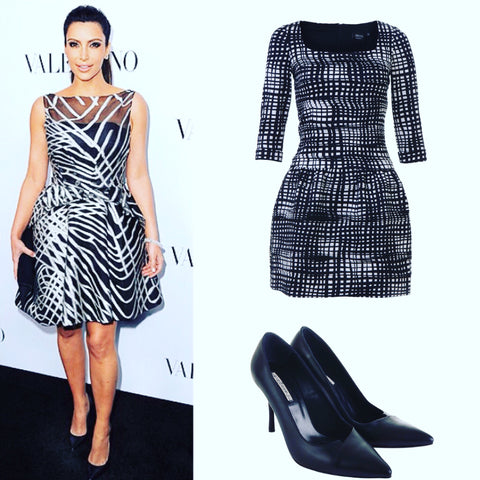 www.aeternastyle.com, kim kardashian, shop the look, black dress, black leather high heels,
