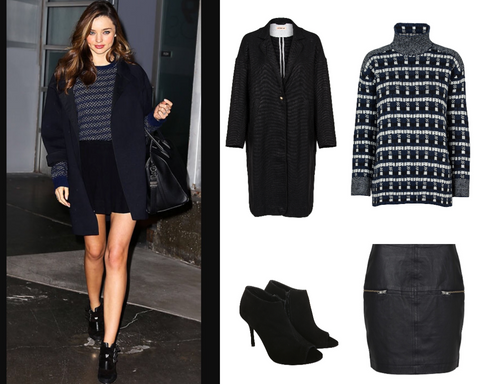 www.aeternastyle.com, shop the look, outfit of the day, OOTD, miranda kerr, celebrity fashion, black coat, sweater, leather skirt, ankle boots, street style