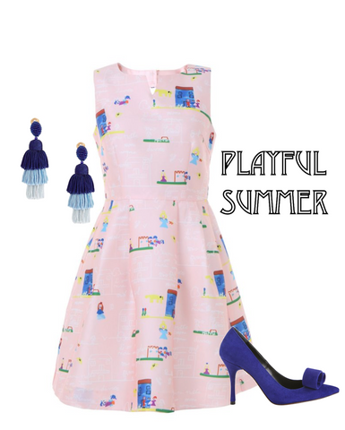 unique fashion, summer dress, playful summer, prints, cute prints, pink dress, aeternastyle