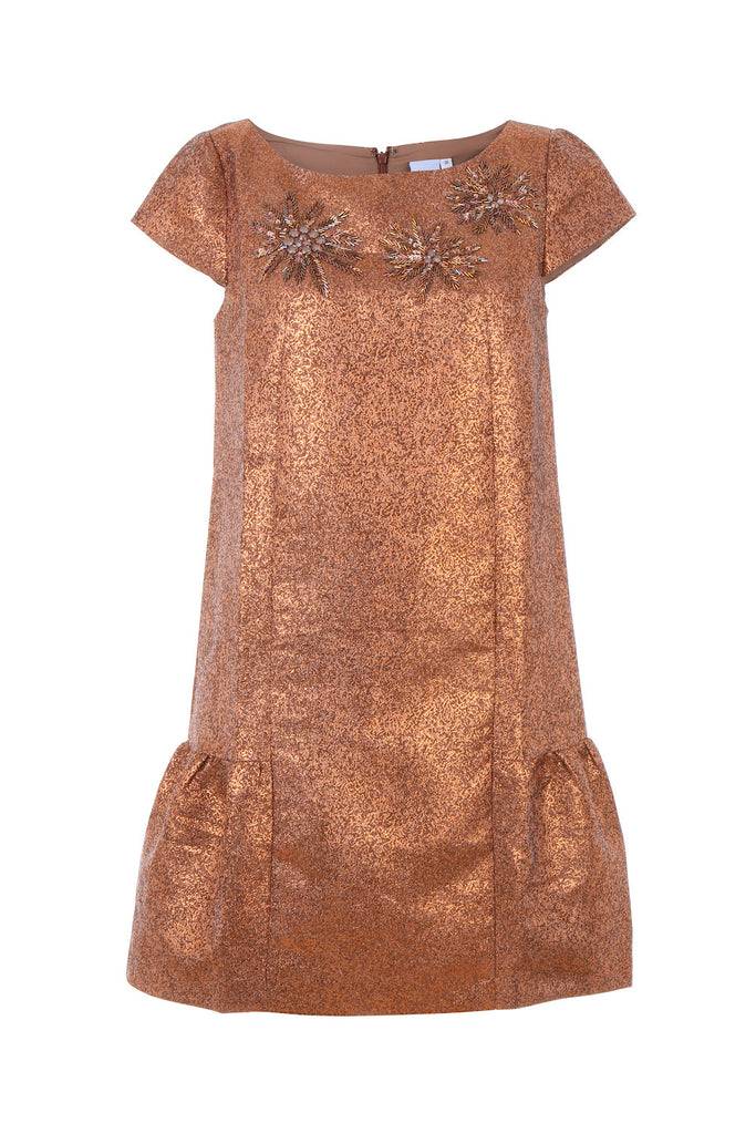 Metallic Copper Embellished Dress - AETERNA STYLE  - 1