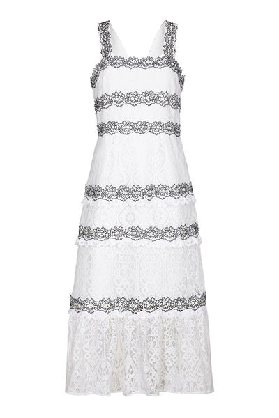 FoxieDox | Frances White Lace Midi Dress | AETERNASTYLE.COM