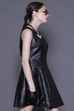 Raquel Faux Leather Dress - AETERNA STYLE  - 5
