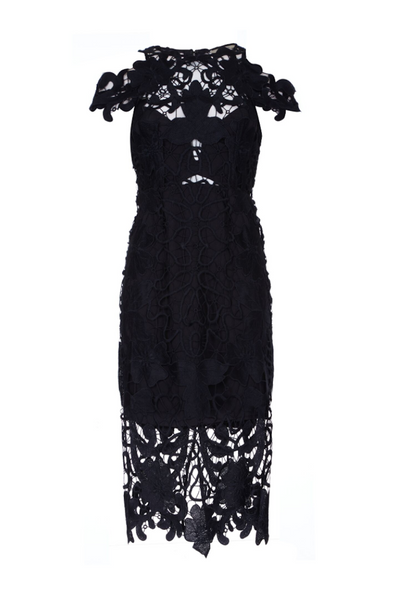 Thurley | Holly Hoak Black Midi Lace Dress | AETERNA STYLE.COM