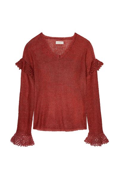 Intropia | Red Openwork flounces knit sweater  | AETERNASTYLE.COM