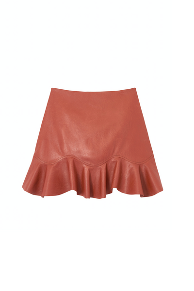 Pecan Vegan Leather Ruffle Skirt
