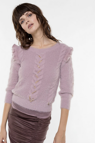 Patrizia Pepe UK Stockists | Lilac Frilled Sweater | AETERNASTYLE.COM