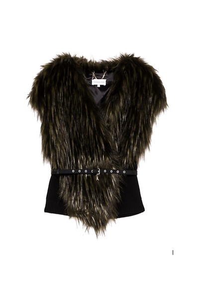 Patrizia Pepe UK Stockists | Olive Green Faux Fur Gilet | AETERNASTYLE.COM