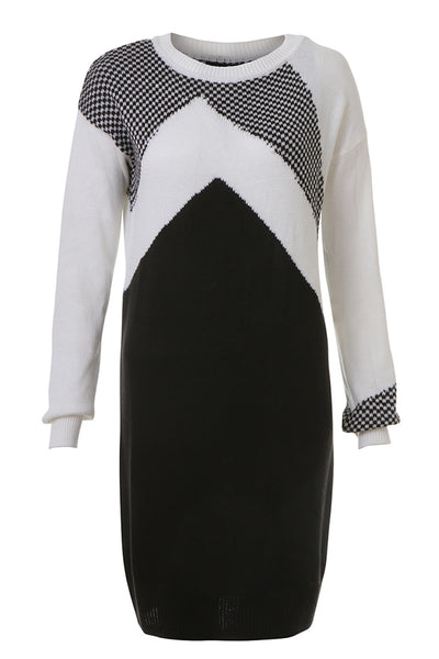 Black & White Sweater Dress - AETERNASTYLE.COM - Shop Online