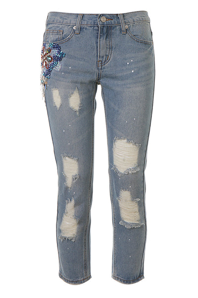 Cropped Ripped Jeans - AETERNA STYLE