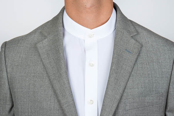 Banded collar shirt with blazer