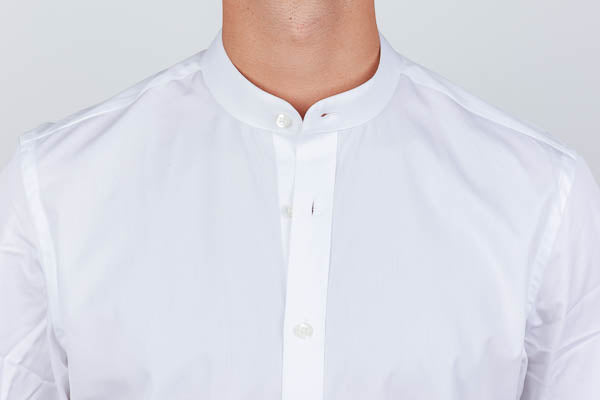 unbuttoned banded collar on a dress shirt