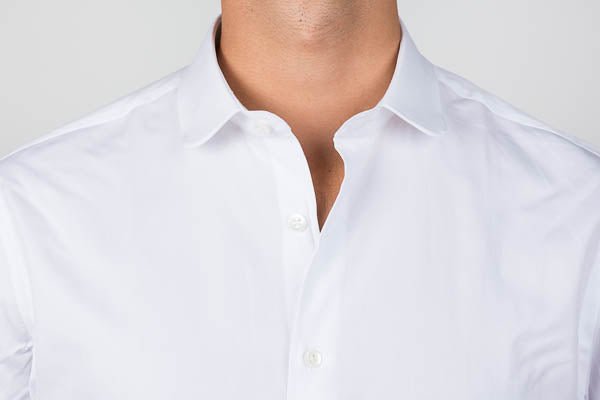 Club collar shirt with top button unbuttoned