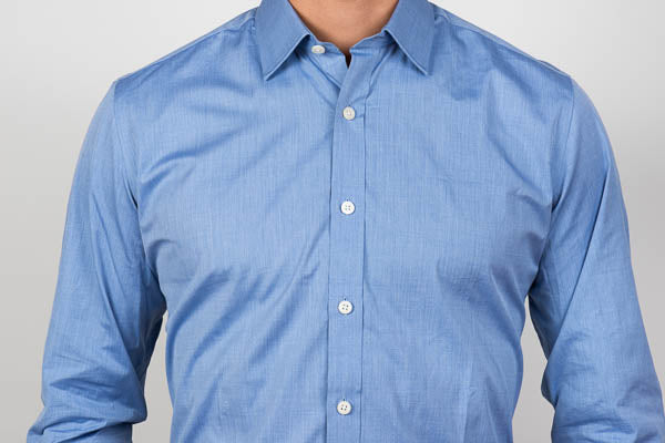 End-on-end blue weave shirt