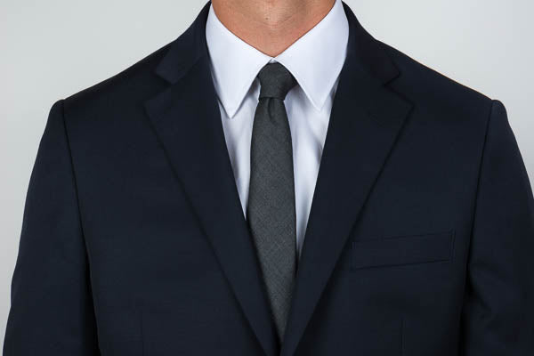 Point collar shirt with a tie and blazer