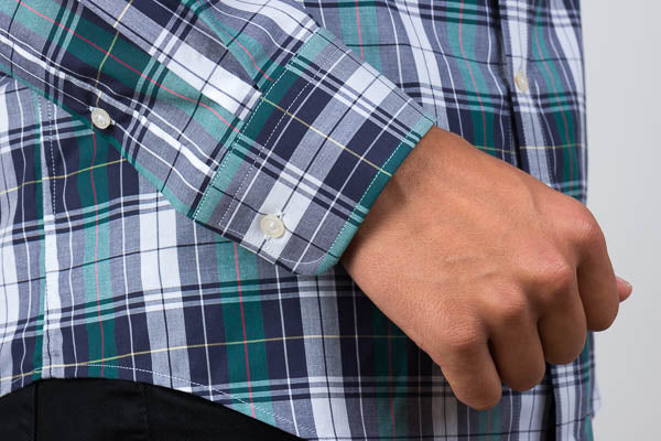 Rounded cuff green blue and white plaid shirt