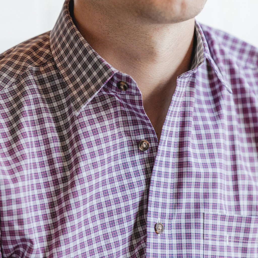 casual point collar shirt in pink, white check poplin - dumbarton - editorial 2