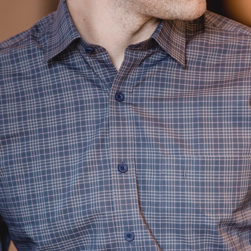 casual point collar shirt in gray, light gray check poplin - montrose - editorial 2