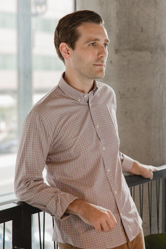 small button down collar shirt in pink plaid check egyptian cotton - arboretum - editorial 1