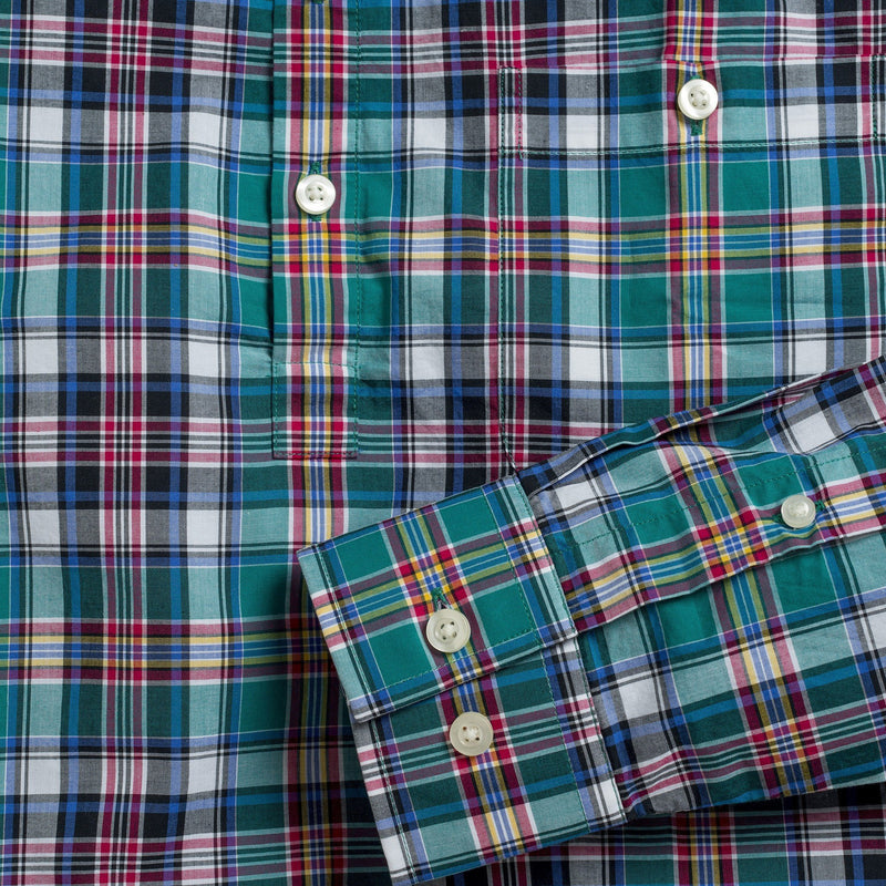 Button-down popover with green multi-color madras plaid - Allen - Detail