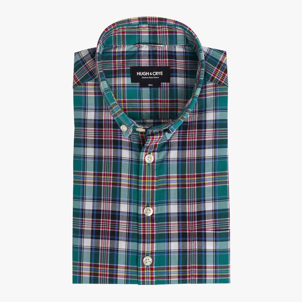 Button-down popover with green multi-color madras plaid - Allen - Flat