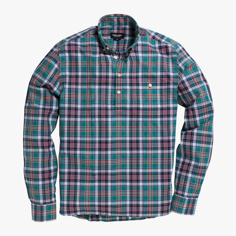 Button-down popover with green multi-color madras plaid - Allen - Splay