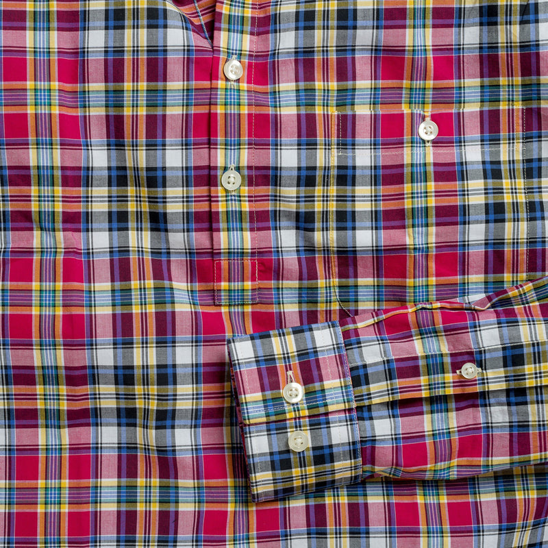 Button-down popover with pink multi-color madras plaid - Allen - Detail