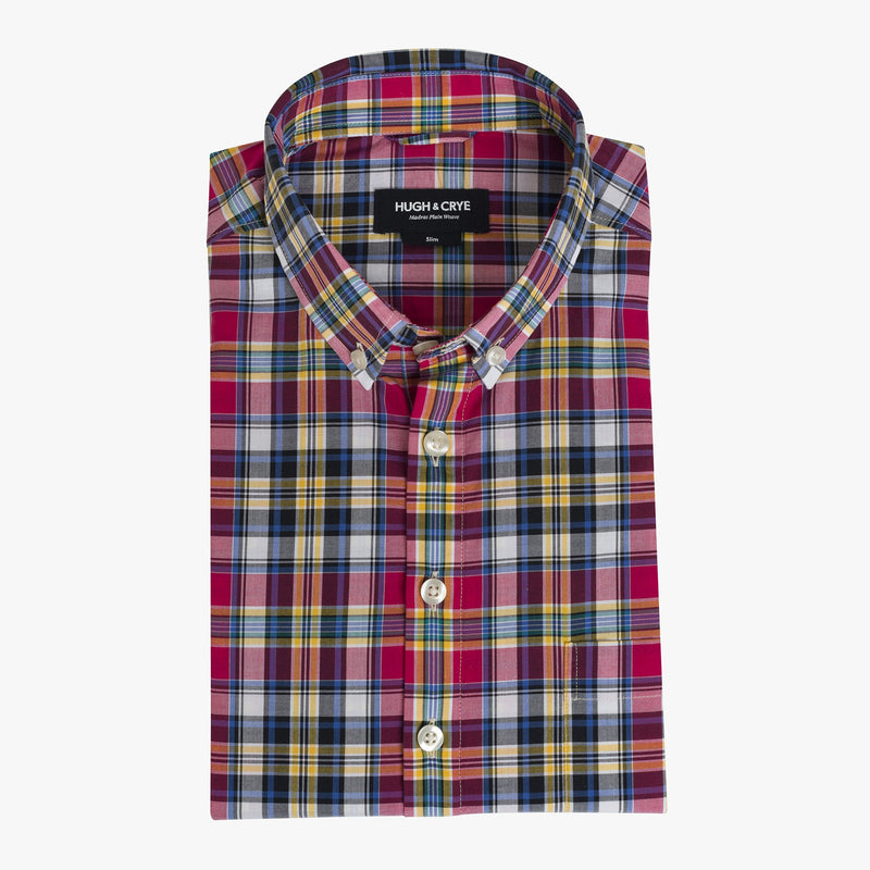 Button-down popover with pink multi-color madras plaid - Allen - Flat