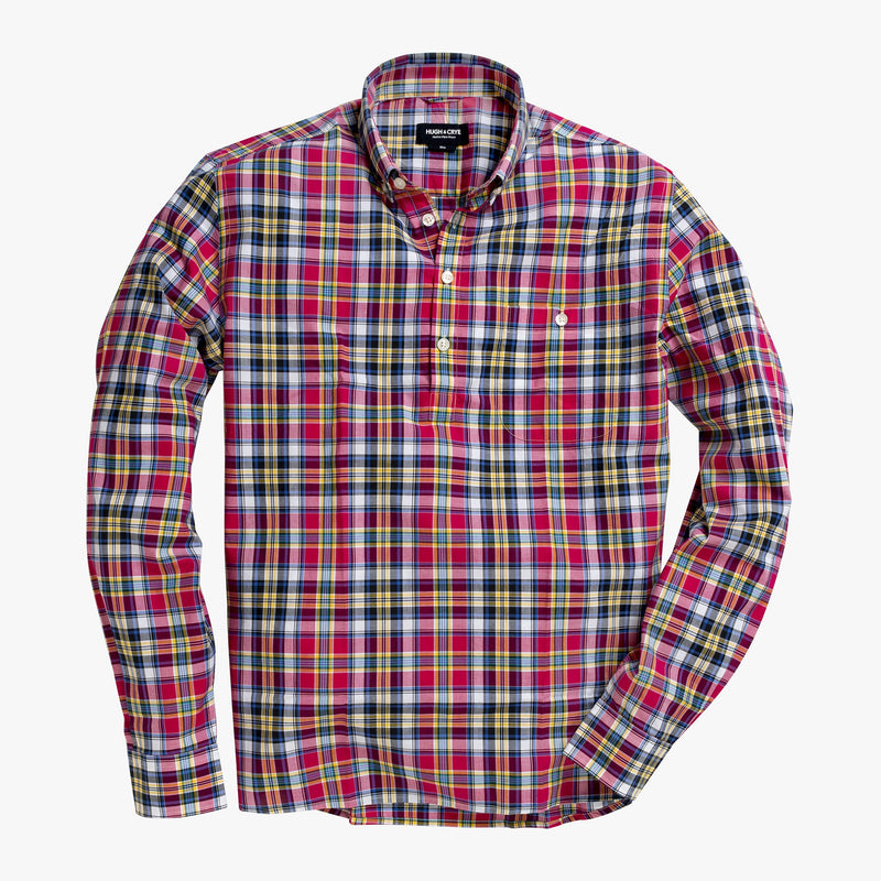 Button-down popover with pink multi-color madras plaid - Allen - Splay