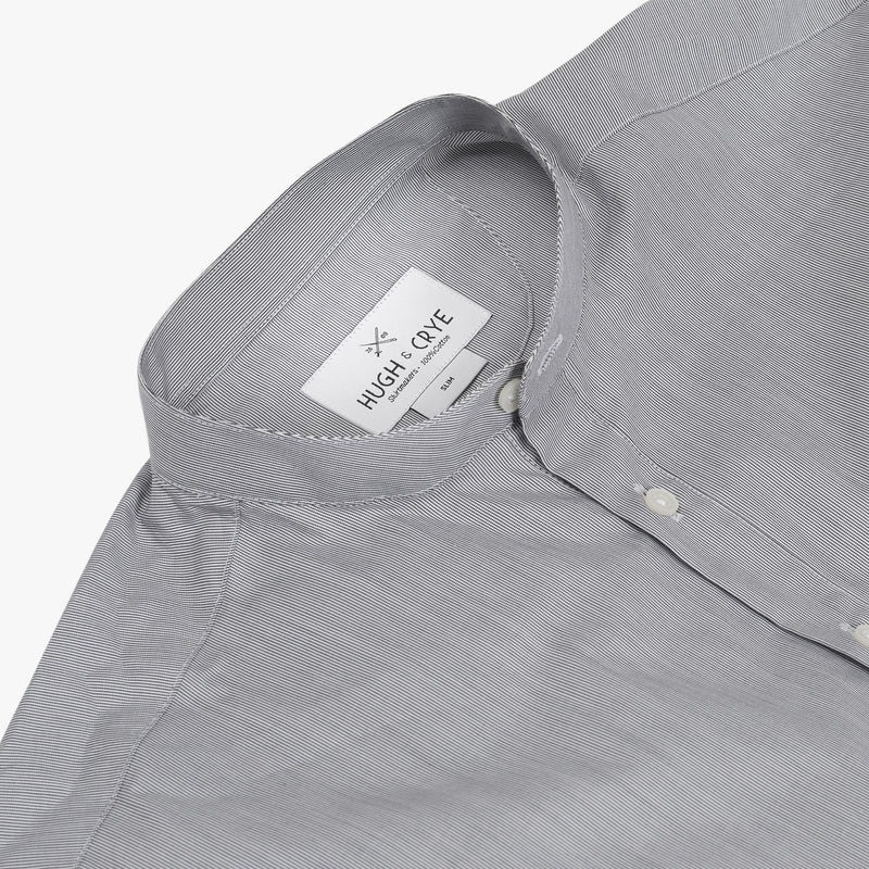 Band Collar popover in black and white pencil stripe poplin - Auric - Detail