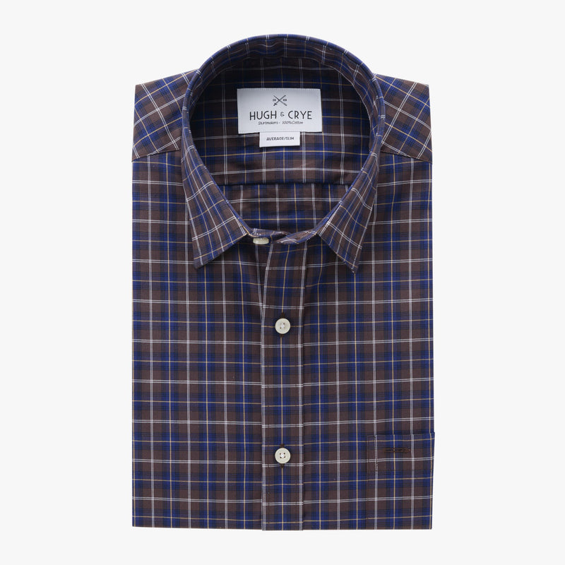 casual point collar shirt in blue, yellow plaid poplin - badlands - flat