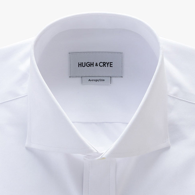 cutaway collar shirt in white solid 120s poplin - Bellevue - detail