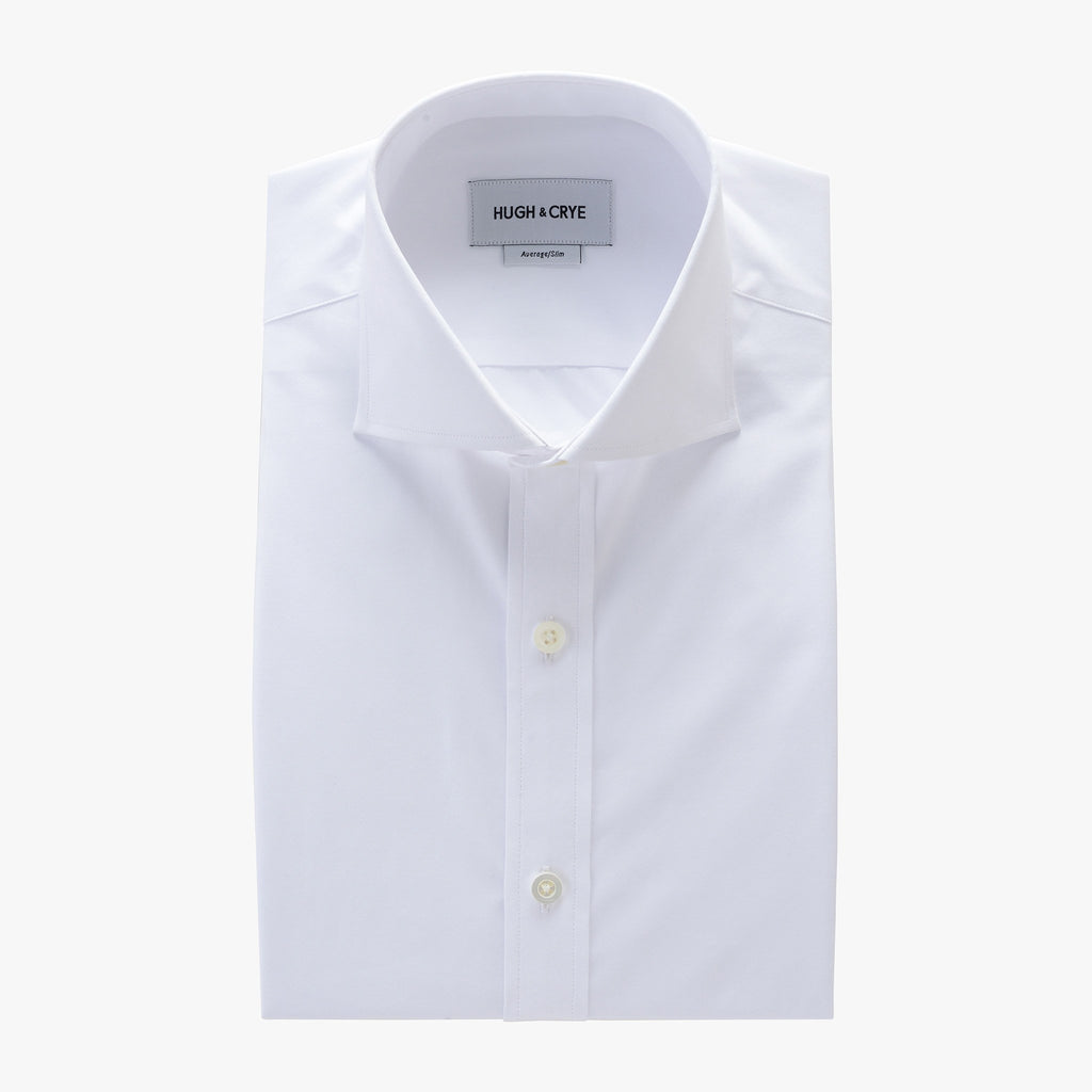 White Poplin Cutaway Collar Mother Of Pearl Dress Shirt