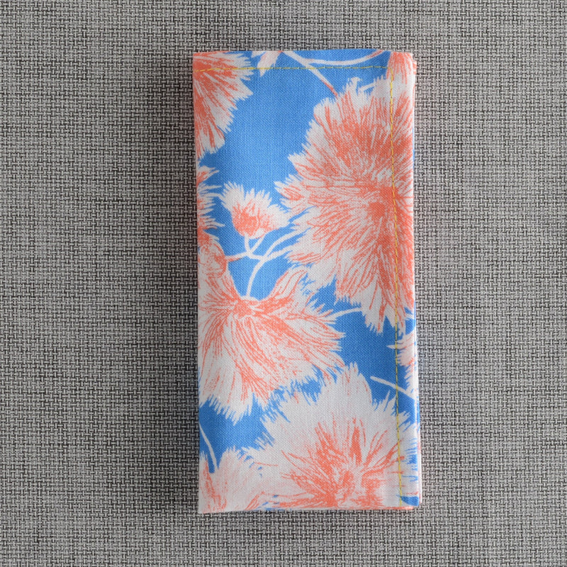Blue & Orange Flower Bracts Pocket Square