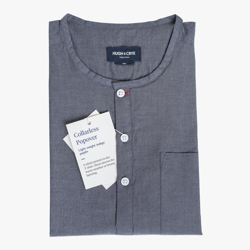 Collarless popover with indigo blue - Pampelonne - Flat