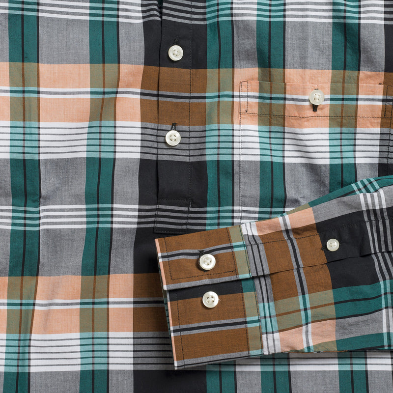 Button-down popover with green/orange horizontal stripe madras plaid - Carson - Detail