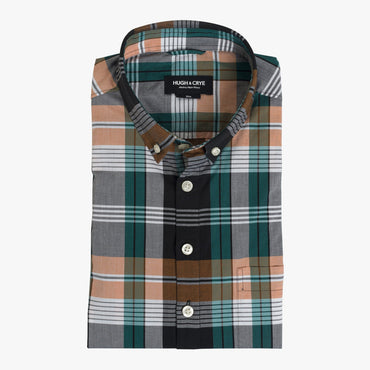 Button-down popover with green/orange horizontal stripe madras plaid - Carson - Flat