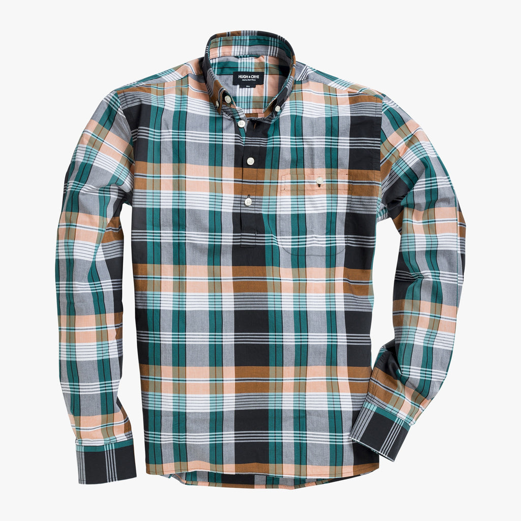 Button-down popover with green/orange horizontal stripe madras plaid - Carson - Splay