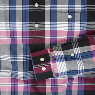 Button-down popover with pink/indigo horizontal stripe madras plaid - Carson - Detail
