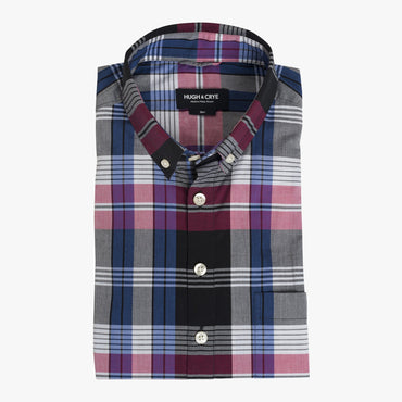 Button-down popover with pink/indigo horizontal stripe madras plaid - Carson - Flat
